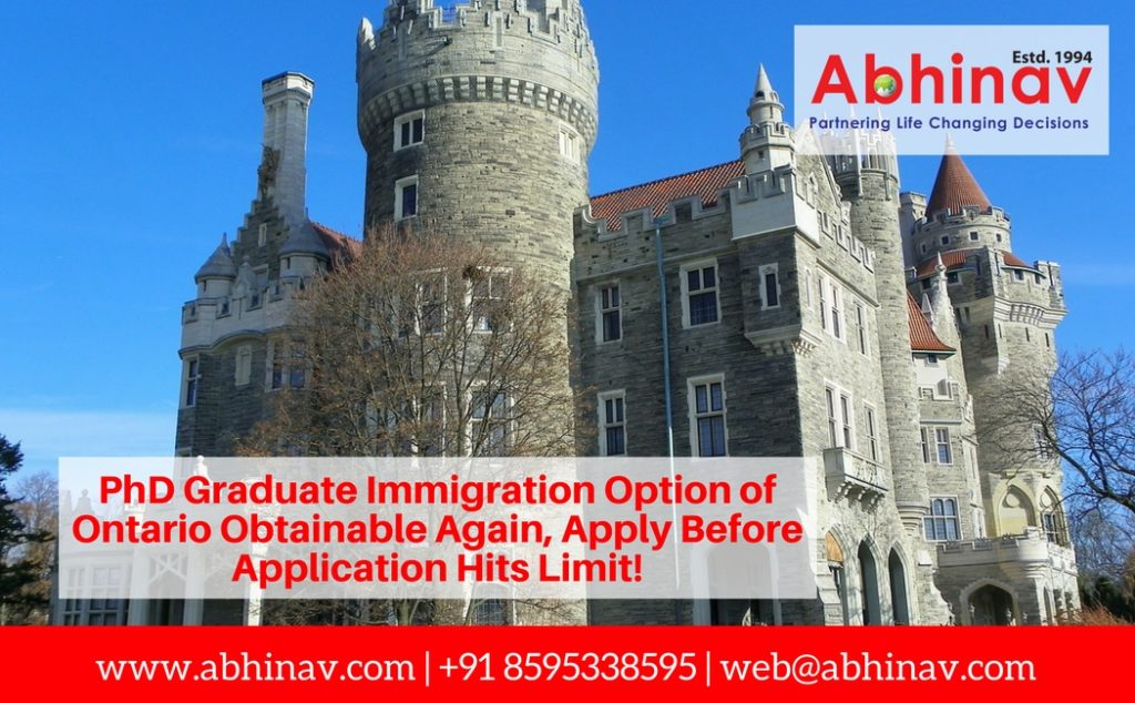 PhD Graduate Immigration Option of Ontario Obtainable Again, Apply Before Application Hits Limit!